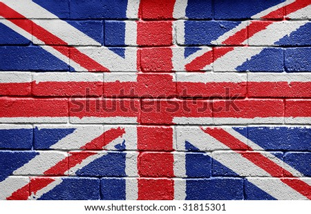 Flag of the United Kingdom painted onto a grunge brick wall