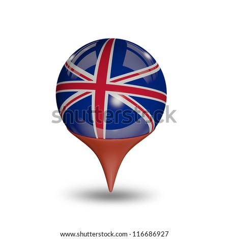 Flag of the United Kingdom pin isolated on white.