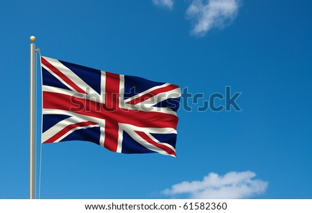 Flag of the United Kingdom with flag pole waving in the wind on front of blue sky