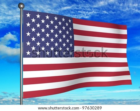 Flag of the United States against the sky