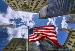 Flag of the United States among Midtown Skyscrapers, Manhattan, New York