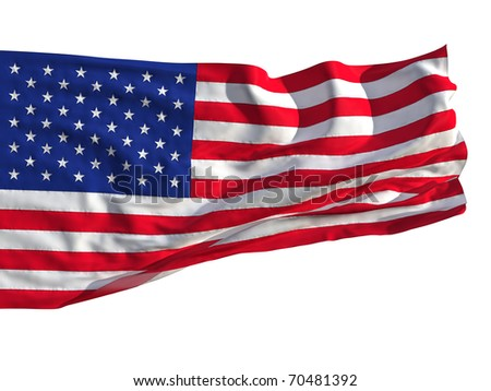 Flag of the United States, fluttered in the wind. Sewn from pieces of cloth, a very realistic detailed flags waving in the wind, with the texture of the material, isolated on a white background.