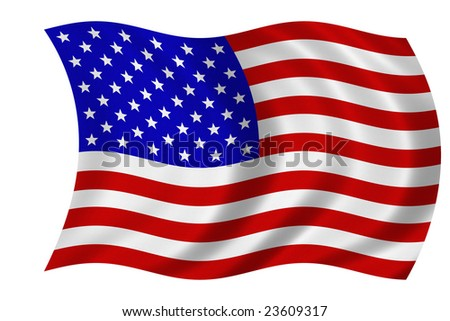 Flag of the United States of America isolated on a white background