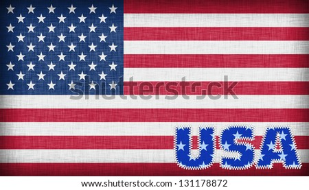 Flag of the USA isolated, linen patern