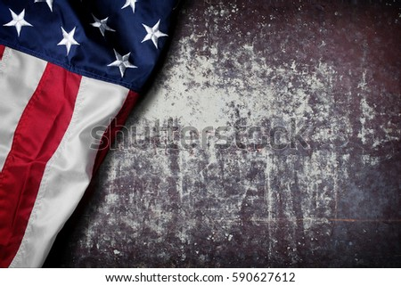 Flag of the USA on wooden background #590627612