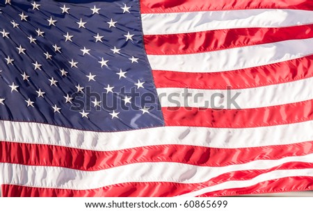 Flag of the USA (United States of America) on tha Wall Street