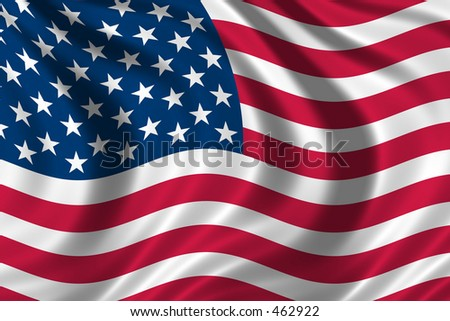 Flag of the USA waving in the wind