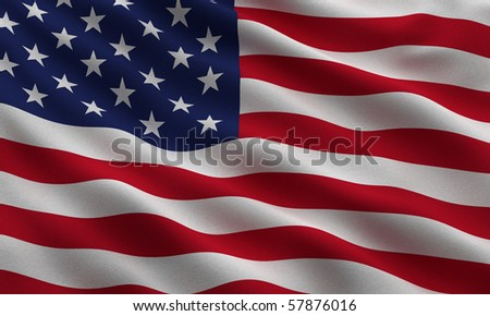 Flag of the USA waving in the wind - very highly detailed fabric texture