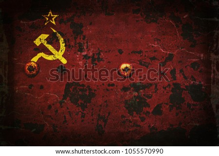 flag of the ussr on rusty metal