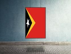 Flag of Timor Leste Hanging on Advertising Board. Timor Leste Flag for advertising, award, achievement, festival, election.
