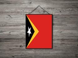 Flag of Timor Leste Hanging on wall. Timor Leste Flag for advertising, award, achievement, festival, election.