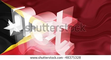 Flag of Timor-Leste, national country symbol illustration wavy net domain website