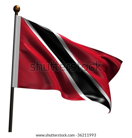 Flag of Trinidad and Tobago. High resolution 3d render isolated on white with fabric texture.