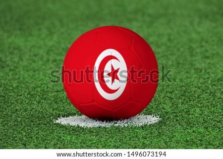 Flag of Tunisia on Football Tunisia Flag on soccer ball #1496073194