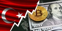 flag of Turkey and bitcoin coins