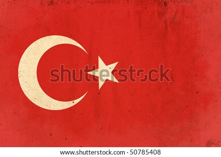 flag of turkey - old and worn paper style