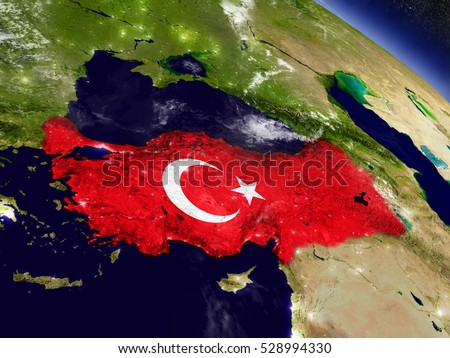 Flag of Turkey on planet surface from space. 3D illustration with highly detailed realistic planet surface and clouds in the atmosphere. Elements of this image furnished by NASA.