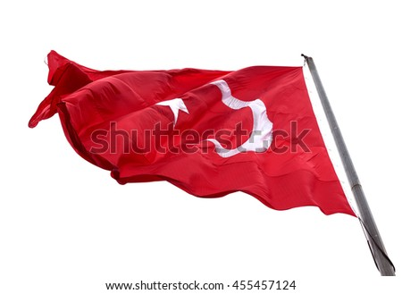 Flag of Turkey waving in wind day. Isolated on white background. #455457124