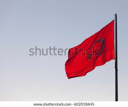 Flag of Turkey waving in wind evening #602018645
