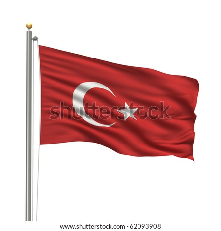 Flag of Turkey with flag pole waving in the wind over white background