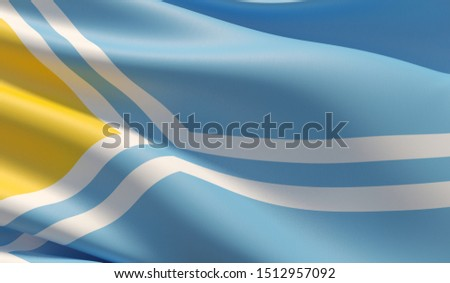 Flag of Tuva. High resolution close-up 3D illustration. Flags of the federal subjects of Russia.