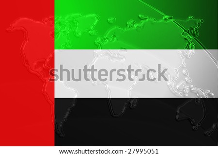 Flag of UAE, national symbol illustration clipart with world map, metallic embossed look