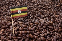Flag of Uganda sticking in roasted coffee beans.(series)