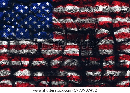 Flag of Uited States of America over a stone wall background 3D illustration Stockfoto ©