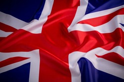 Flag of UK, British flag, close up.