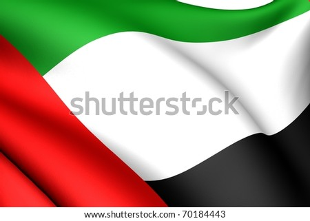 Flag of United Arab Emirates. Close up.