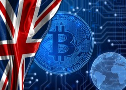Flag of United Kingdom against the background of crypto currency bitcoin.