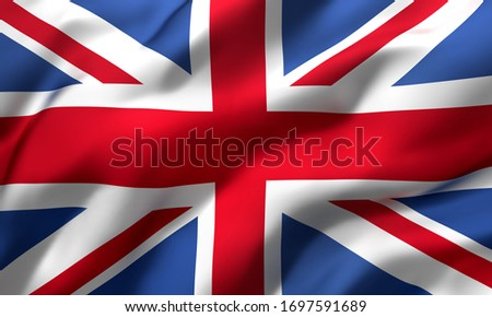 Flag of United Kingdom, Great Britain blowing in the wind. Full page british flying flag. Union Jack flag. 3D illustration.