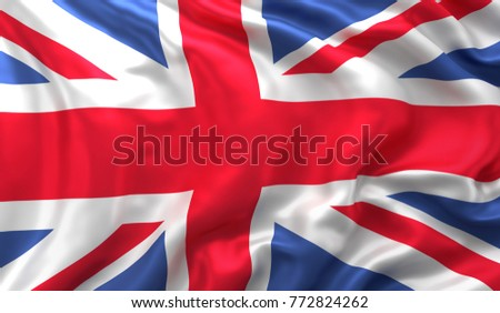 Flag of United Kingdom, satin textured, blowing in the wind #772824262