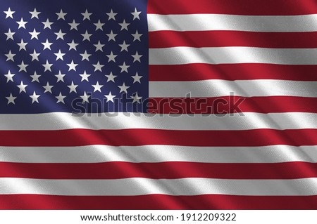Flag of United States of America is a country primarily located in North America. 3d illustration Foto stock ©
