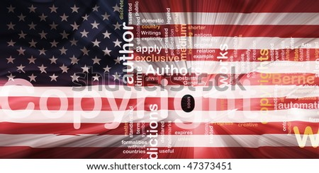 Flag of United States of America, national country symbol illustration wavy fabric national copyright law