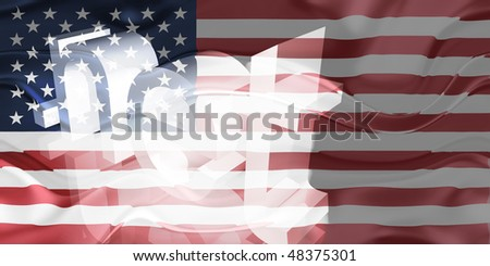 Flag of United States of America, national country symbol illustration wavy net domain website