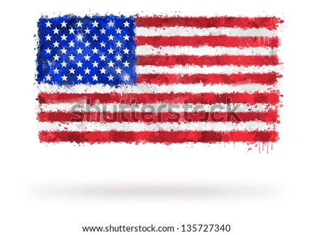Flag of United States painted with watercolors on an isolated background - stock photo