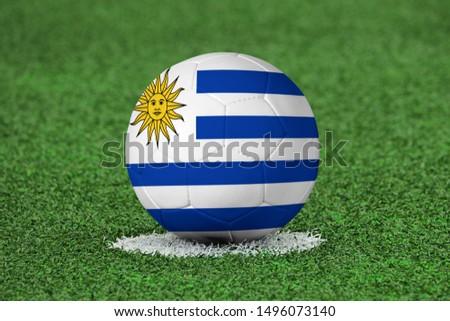 Flag of Uruguay on Football Uruguay Flag on soccer ball #1496073140