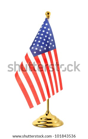 Flag of US hanging on the gold flagpole,Isolated on the white background