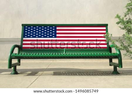 Flag of USA on bench. USA Flag on bench advertisement #1496085749
