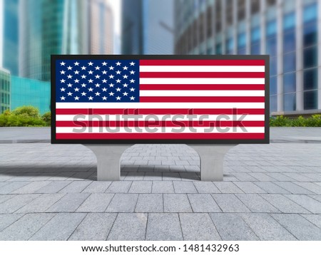 Flag of USA on billboard. #1481432963
