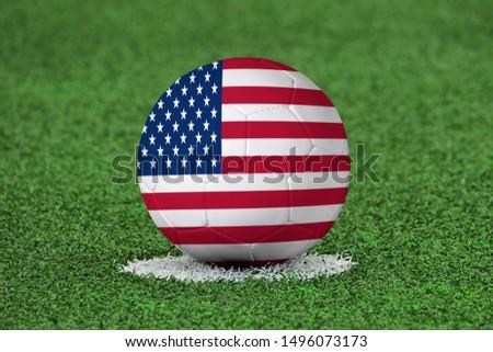 Flag of USA on Football USA Flag on soccer ball #1496073173
