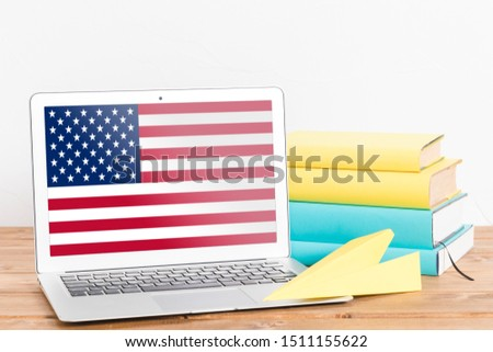 Flag of USA on Laptop. USA Flag on Screen. #1511155622