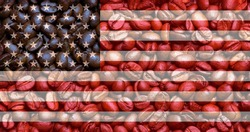 Flag of USA on the background of coffee beans