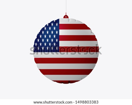 Flag of USA on wooden board. Paper Flag of USA on wooden table.