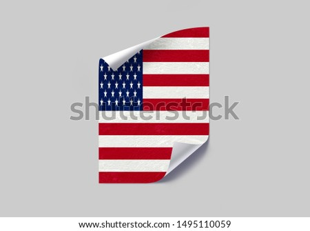 Flag of USA Poster on Wall. USA Flag on Wall. #1495110059