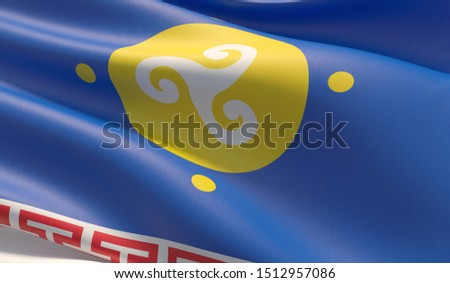 Flag of Ust-Orda Buryat Okrug. High resolution close-up 3D illustration. Flags of the federal subjects of Russia.