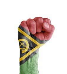 Flag of Vanuatu painted on human fist like victory symbol
