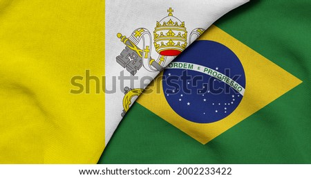 Flag of Vatican and Brazil - 3D illustration. Two Flag Together - Fabric Texture Foto stock ©