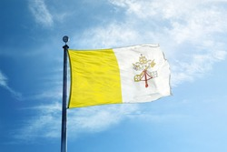 Flag of Vatican City on the mast